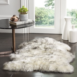 Safavieh Prairie Natural Pelt Sheepskin Wool Ivory/ Smoke Grey Shag Rug (2u0027  X