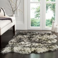 Safavieh Prairie Natural Pelt Sheepskin Wool Ivory/ Dark Charcoal Shag Rug - 2' x 3'