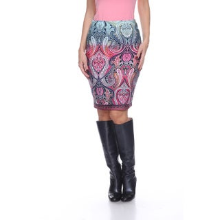 Women's Pretty and Proper Blue and Red Polyester and Spandex Paisley Pencil Skirt