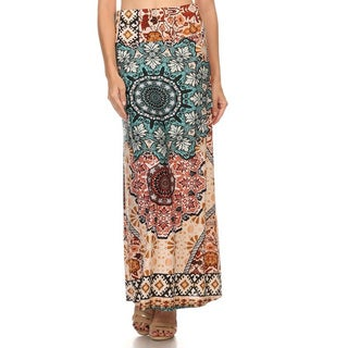 Women's Multicolored Polyester/Spandex Paisley Ornate Maxi Skirt