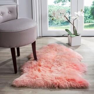 Safavieh Prairie Natural Pelt Sheepskin Wool Solid Pink Shag Rug - 2' x 3'