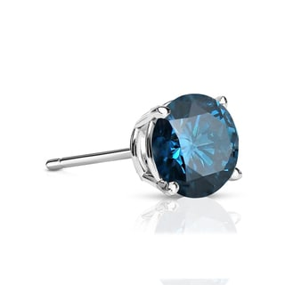 Auriya 14k Gold 1/4ct TDW 4-Prong Push-Back Round Cut Blue Diamond Single Stud Earring (Blue, SI2-SI3)