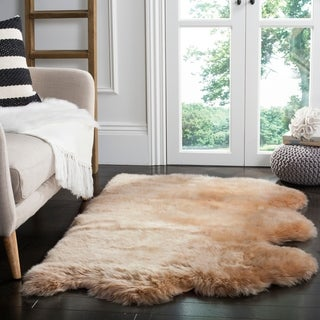 Safavieh Prairie Natural Pelt Sheepskin Wool Natural Beige Shag Rug (2' x 3')