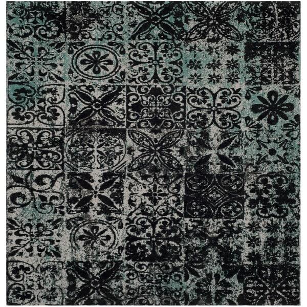 Safavieh Classic Vintage Teal/ Black Cotton Distressed Rug
