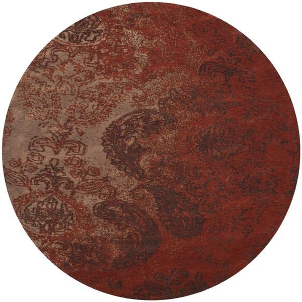 Safavieh Classic Vintage Rust/ Brown Cotton Distressed Rug - 6' Round