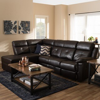 Baxton Studio Chaos Modern and Contemporary Dark Brown Faux Leather 2-Piece Sectional with Recliner and Storage Chaise