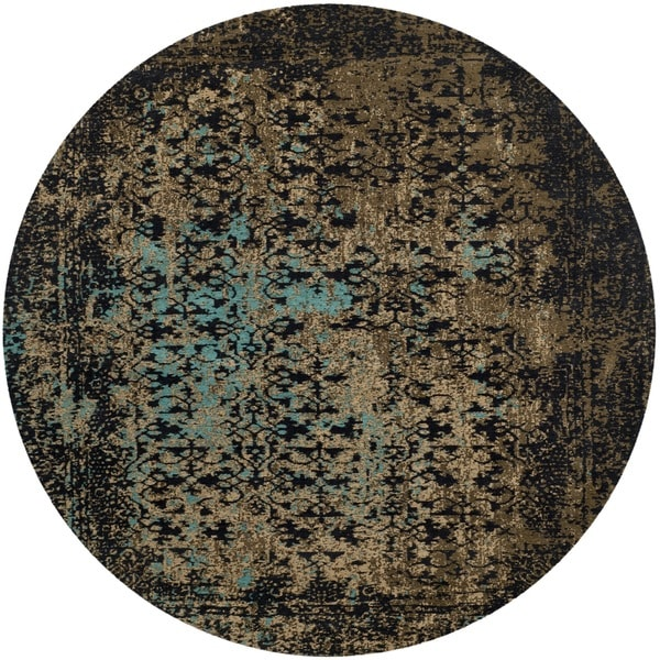 Safavieh Classic Vintage Black/ Olive Cotton Distressed Rug - 6' Round