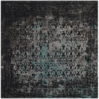 Safavieh Classic Vintage Navy/ Teal Cotton Distressed Rug - 6' Square