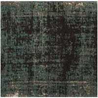 Safavieh Classic Vintage Teal/ Brown Cotton Distressed Rug - 6' Square