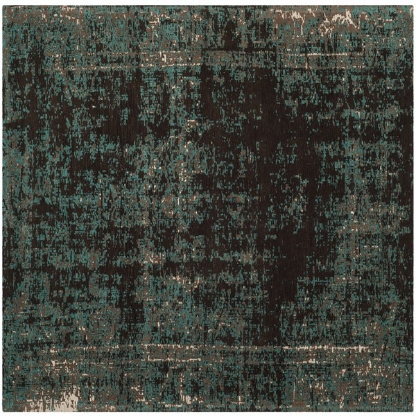 Safavieh Classic Vintage Teal/ Brown Cotton Distressed Rug - 6' x 6' Square