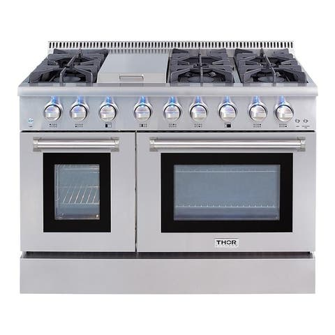 Thor Kitchen - 48 in. 6.7 cu. ft. Dual Fuel Range in Stainless Steel