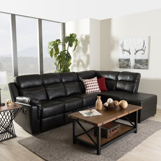 Baxton Studio Chaos Modern and Contemporary Black Faux Leather 2-Piece Sectional with Recliner and Storage Chaise