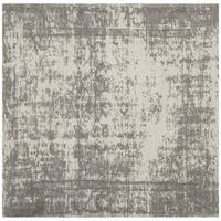 Safavieh Classic Vintage Silver/ Ivory Cotton Distressed Rug (6' Square)