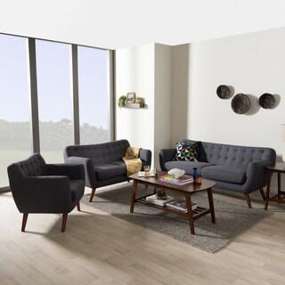 Baxton Studio Melita Mid-Century Modern Fabric Upholstered Walnut Wood Button-Tufted 3-Piece Sofa Set