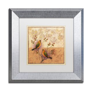 Rachel Paxton 'Two Orange Birds' Matted Framed Art