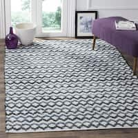 Safavieh Hand-Woven Montauk Flatweave Ivory Blue / Black Cotton Rug - 6' Square