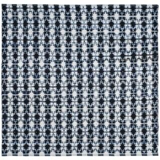 Safavieh Hand-Woven Montauk Flatweave Ivory Blue / Black Cotton Rug (6' Square)