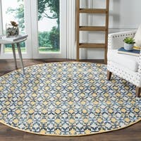 Safavieh Hand-Woven Montauk Flatweave Gold / Multicolored Cotton Rug - 6' x 6' Round