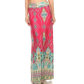 Women's Multicolor Polyester and Spandex Paisley Maxi Skirt
