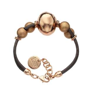 Isla Simone - 18 Karat Rose Gold Electro Plated Ball And Brown Cord Bracelet