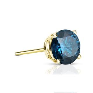 Auriya 14k Gold 1/3ct TDW 4-Prong Push-Back Round Cut Blue Diamond Single Stud Earring (Blue, SI2-SI3)