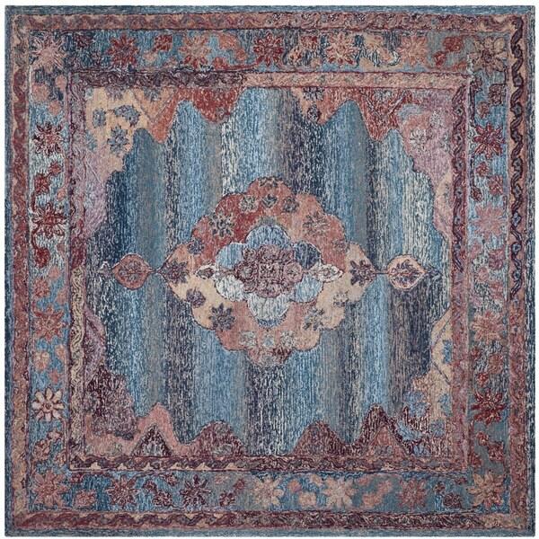 Safavieh Handmade Vintage Oushak Blue Distressed Silky Polyester Rug (6' Square)