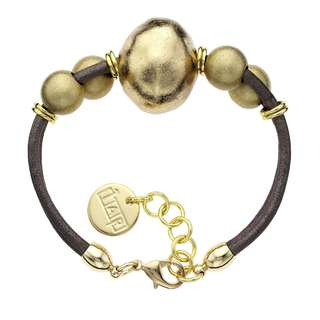 Isla Simone - 18 Karat Gold Electro Plated Ball And Brown Leather Cord Bracelet