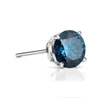 Auriya 14k Gold 1/2ct TDW 4-Prong Push-Back Round Cut Blue Diamond Single Stud Earring (Blue, SI2-SI3)