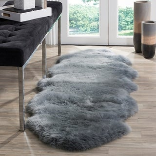 Safavieh Prairie Natural Pelt Sheepskin Wool Steel Blue Shag Rug (2' x 6')