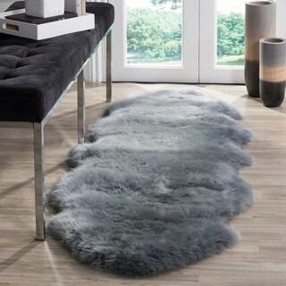 Safavieh Prairie Natural Pelt Sheepskin Wool Steel Blue Shag Rug (2' x 6')