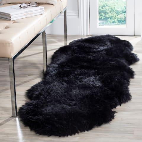 Safavieh Prairie Natural Pelt Sheepskin Wool Midnight Black Shag Rug - 2' x 6'