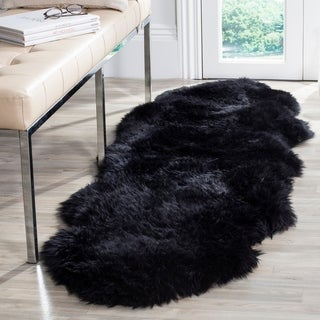 Safavieh Prairie Natural Pelt Sheepskin Wool Midnight Black Shag Rug (2' x 6')