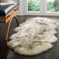 Safavieh Prairie Natural Pelt Sheepskin Wool Ivory/ Smoke Grey Shag Rug - 2' x 6'