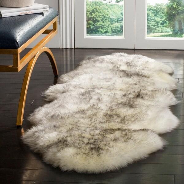 Safavieh Prairie Natural Pelt Sheepskin Wool Ivory/ Smoke Grey Shag Rug - 2' x 6'