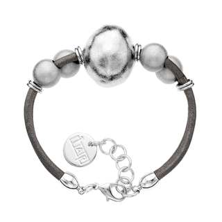 Isla Simone - Fine Silver Electro Plated Ball And Brown Leather Cord Bracelet