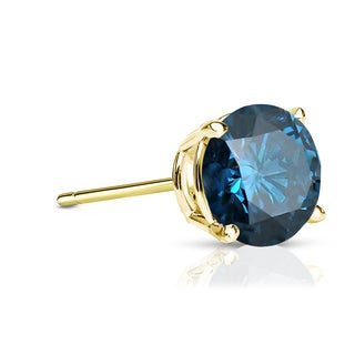 Auriya 14k Gold 3/4ct TDW 4-Prong Push-Back Round Cut Blue Diamond Single Stud Earring (Blue, SI2-SI3)