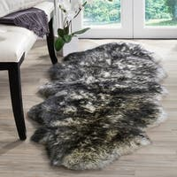 Safavieh Prairie Natural Pelt Sheepskin Wool Ivory/ Dark Charcoal Shag Rug (2' x 6')