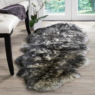 Safavieh Prairie Natural Pelt Sheepskin Wool Ivory/ Dark Charcoal Shag Rug (2' x 6')