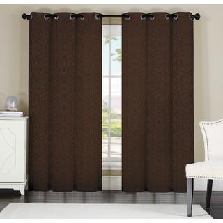 Artistic Linen Keegan Polyester Jacquard Grommet-top Window Curtain Panel Pair