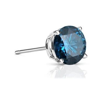 Auriya 14k Gold 1ct TDW 4-Prong Push-Back Round Cut Blue Diamond Single Stud Earring (Blue, SI2-SI3)