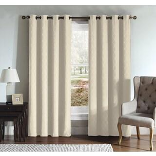 Artistic Linen Diamond Jacquard Grommet-top Window Curtain Panel