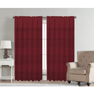 Artistic Linen Aria Red/Gold Rod-pocket Window Curtain Panel with Attached Valance