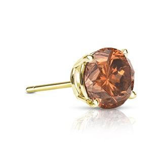 Auriya 14k Gold 1/3ct TDW 4-Prong Push-Back Round Cut Brown Diamond Single Stud Earring (Brown, SI1-SI2)