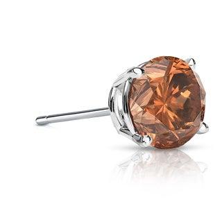 Auriya 14k Gold 1ct TDW 4-Prong Push-Back Round Cut Brown Diamond Single Stud Earring (Brown, SI1-SI2)