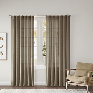 Madison Park Harlow Dobby Jacquard Window Curtain Panel Pair 3-Color Option