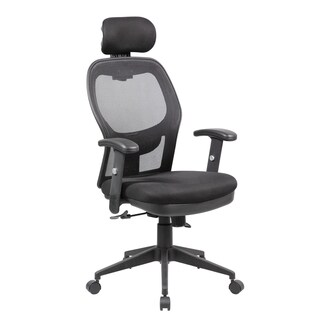 Black Mesh Adjustable Lumbar Support Armrests Headrest and Multi-position Recline Control Office Computer Chair