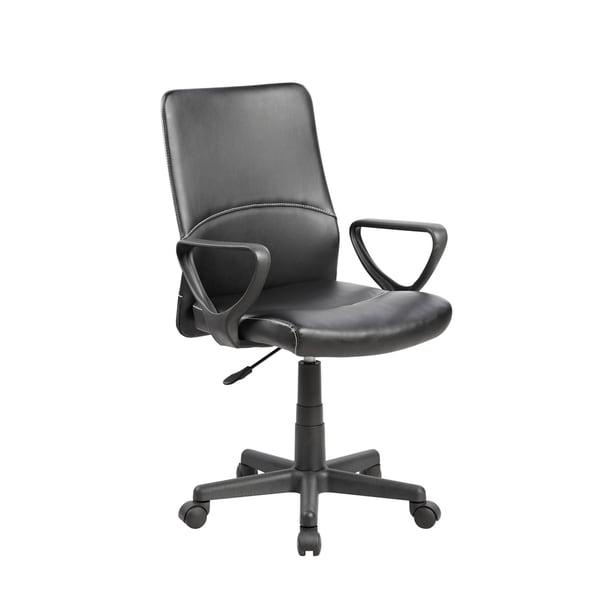 black faux leather metal plastic mid back executive