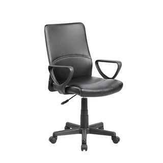 Black Faux-leather/Metal/Plastic Mid-back Executive Computer Desk Task Office Chair