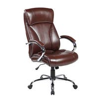 Brown Ergonomic High-back Leather Executive Office Desk Chair