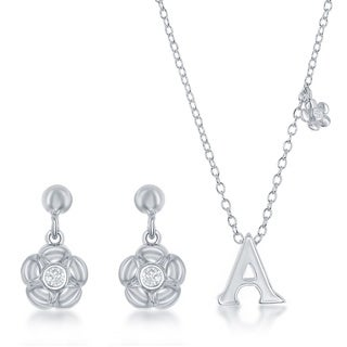 Sterling Silver Initial and Flower Pendant and Earring Set